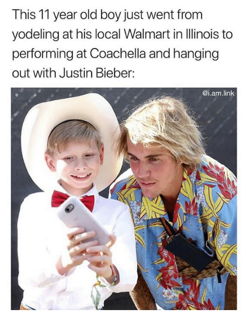 Coachella, Justin Bieber, and Walmart: This 11 year old boy just went from  yodeling at his local Walmart in llinois to  performing at Coachella and hanging  out with Justin Bieber:  @i.am.linlk