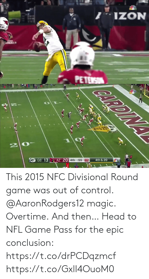 nfc: This 2015 NFC Divisional Round game was out of control.  @AaronRodgers12 magic. Overtime. And then…   Head to NFL Game Pass for the epic conclusion: https://t.co/drPCDqzmcf https://t.co/GxlI4OuoM0