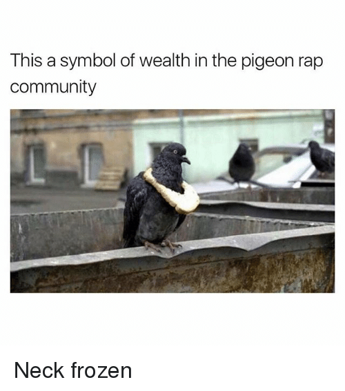 Community, Frozen, and Funny: This a symbol of wealth in the pigeon rap  Community Neck frozen