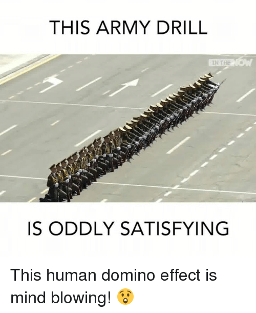 Memes, Domino's, and Dominoes: THIS ARMY DRILL  IN THE  IS ODDLY SATISFYING This human domino effect is mind blowing! 😲