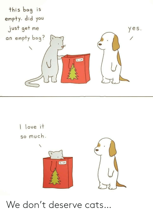 empty: this bag is  empty. did you  just get me  an empty bag?  yes.  te: cat  I love it  so much.  to: cat We don't deserve cats…
