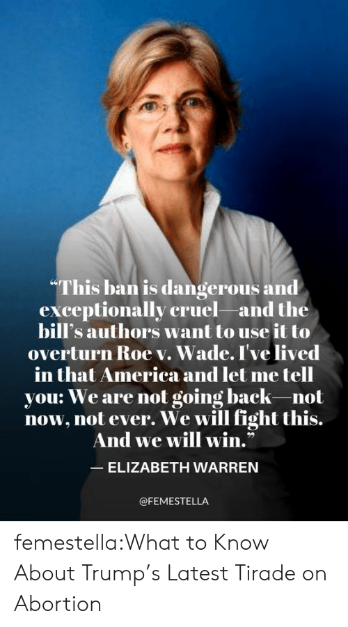"""Elizabeth Warren: """"This ban is dangerous and  exceptionally cruel and the  bill's authors want to use it to  overturn Roe v. Wade. I've lived  merica and let me tell  in that America an  you: We are not going back-not  now, not ever. We will fight this.  And we will win.""""  ELIZABETH WARREN  @FEMESTELLA femestella:What to Know About Trump's Latest Tirade on Abortion"""