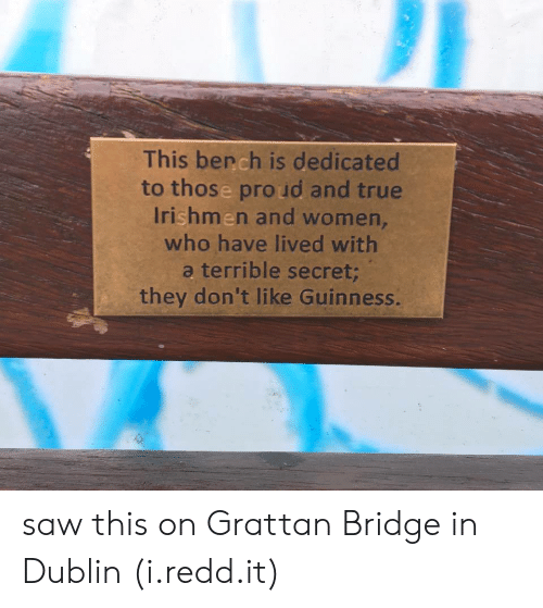 guinness: This bench is dedicated  to those pro ud and true  Irishmen and women,  who have lived with  a terrible secret  they don't like Guinness. saw this on Grattan Bridge in Dublin (i.redd.it)