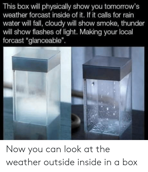 """flashes: This box will physically show you tomorrow's  weather forcast inside of it. If it calls for rain  water will fall, cloudy will show smoke, thunder  will show flashes of light. Making your local  forcast """"glanceable"""" Now you can look at the weather outside inside in a box"""