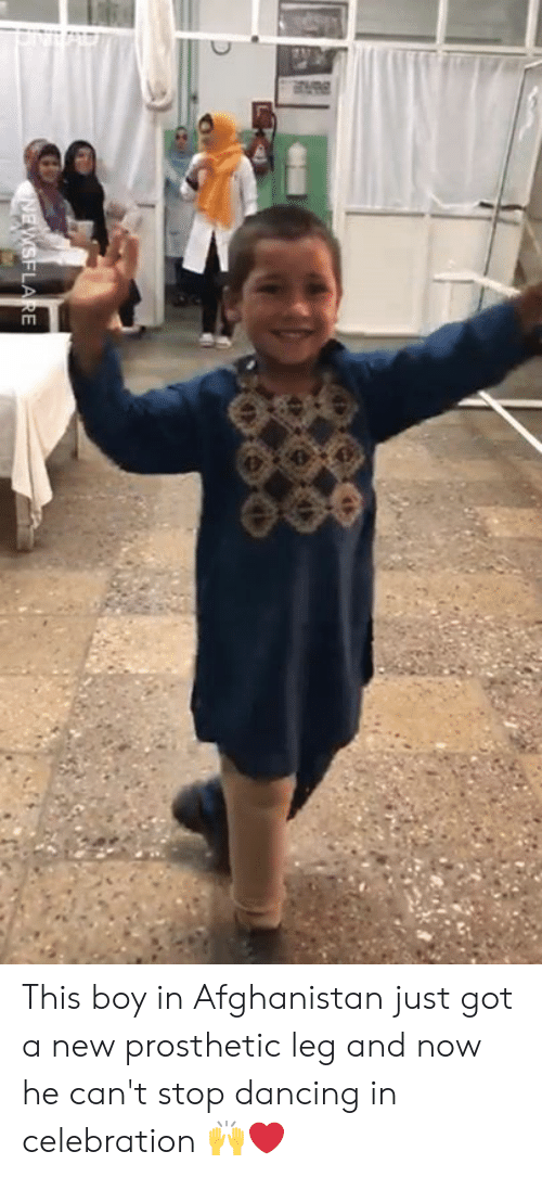 Afghanistan: This boy in Afghanistan just got a new prosthetic leg and now he can't stop dancing in celebration 🙌❤️️