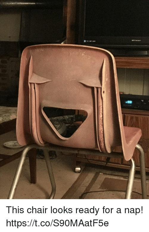 Chair, Faces-In-Things, and Nap: This chair looks ready for a nap! https://t.co/S90MAatF5e