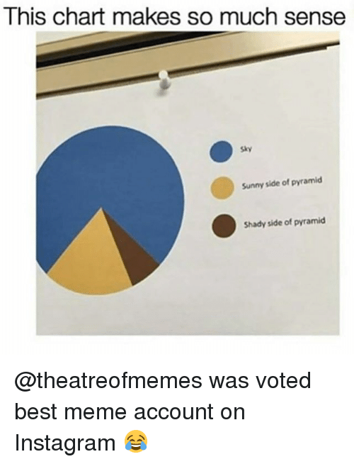 Instagram, Meme, and Memes: This chart makes so much sense  Sunny side of pyramid  Shady side of pyramid @theatreofmemes was voted best meme account on Instagram 😂