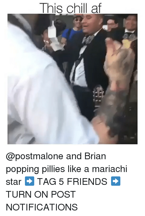 Af, Chill, and Friends: This chill af @postmalone and Brian popping pillies like a mariachi star ➡️ TAG 5 FRIENDS ➡️ TURN ON POST NOTIFICATIONS