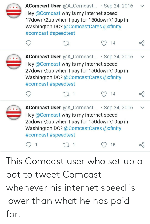 whenever: This Comcast user who set up a bot to tweet Comcast whenever his internet speed is lower than what he has paid for.