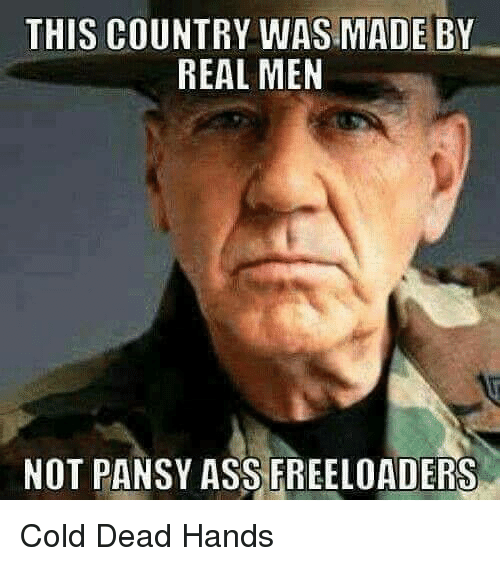 Ass, Memes, and Cold: THIS COUNTRY WAS MADE BY  REAL MEN  NOT PANSY ASS FREELOADERS Cold Dead Hands