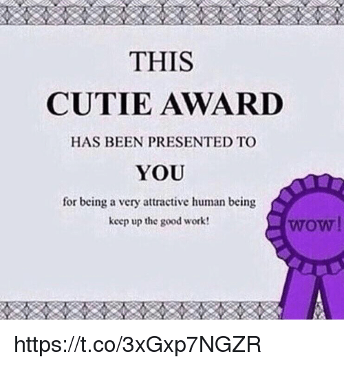 good work: THIS  CUTIE AWARD  HAS BEEN PRESENTED TO  YOU  for being a very attractive human being  keep up the good work  wow https://t.co/3xGxp7NGZR