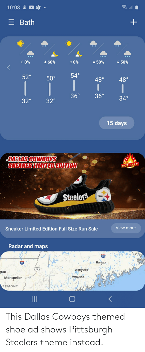 Steelers: This Dallas Cowboys themed shoe ad shows Pittsburgh Steelers theme instead.