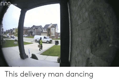 delivery man: This delivery man dancing
