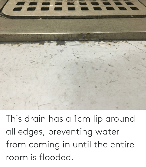 edges: This drain has a 1cm lip around all edges, preventing water from coming in until the entire room is flooded.