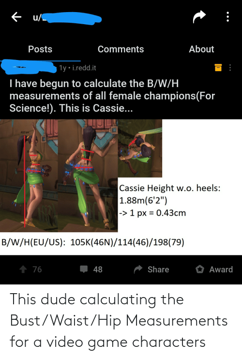 bust: This dude calculating the Bust/Waist/Hip Measurements for a video game characters