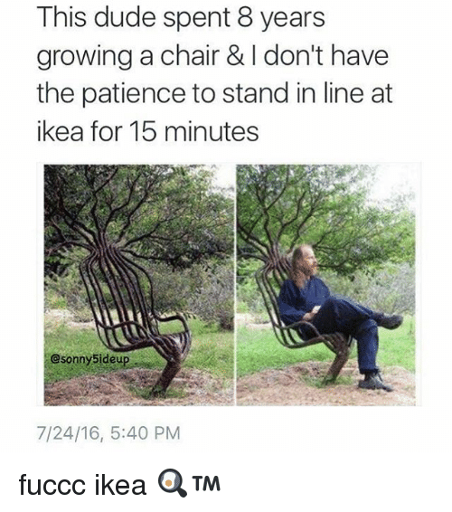 Ikea, Memes, and Patience: This dude spent 8 years  growing a chair & I have  don't the patience to stand in line at  ikea for 15 minutes  Csonny5ideup  7/24/16, 5:40 PM fuccc ikea 🍳™