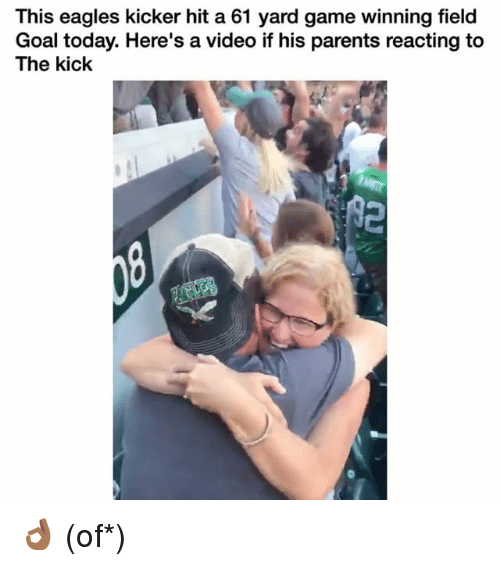 Philadelphia Eagles, Funny, and Parents: This eagles kicker hit a 61 yard game winning field  Goal today. Here's a video if his parents reacting to  The kick 👌🏾 (of*)
