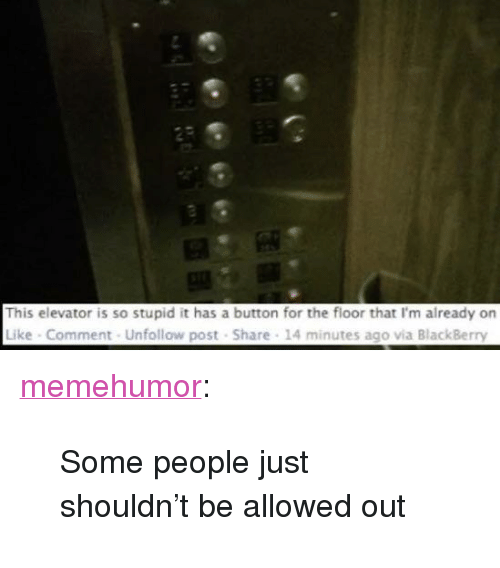 """BlackBerry: This elevator is so stupid it has a button for the floor that I'm already on  Like Comment Unfollow post Share 14 minutes ago via BlackBerry <p><a href=""""http://memehumor.net/post/173973567153/some-people-just-shouldnt-be-allowed-out"""" class=""""tumblr_blog"""">memehumor</a>:</p>  <blockquote><p>Some people just shouldn't be allowed out</p></blockquote>"""
