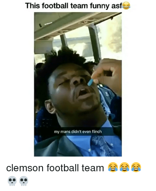 Football, Funny, and Memes: This football team funny asf  my mans didn't even flinch clemson football team 😂😂😂💀💀