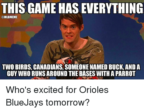 Memes, Birds, and Canadian: THIS GAME HAS EVERYTHING  @MLBMEME  TWO BIRDS, CANADIANS SOMEONE NAMED BUCK ANDA  GUY WHO RUNS AROUND THE BASES WITH A PARROT Who's excited for Orioles BlueJays tomorrow?