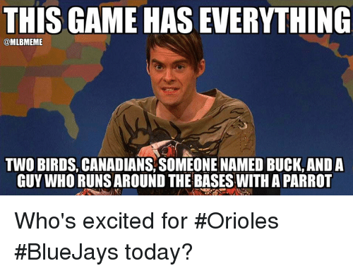 Mlb, Run, and Birds: THIS GAME HASEVERYTHING  @MLBMEME  Two BIRDS CANADIANS SoMEONE NAMED Buck, ANDA  GUY WHO RUNS AROUND THE BASES WITH APARROT Who's excited for #Orioles #BlueJays today?