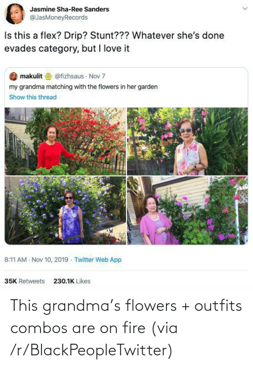 outfits: This grandma's flowers + outfits combos are on fire (via /r/BlackPeopleTwitter)