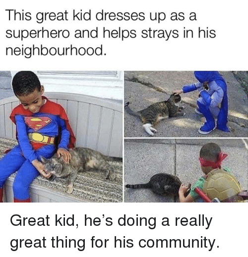 asa: This great kid dresses up asa  superhero and helps strays in his  neighbourhood. Great kid, he's doing a really great thing for his community.