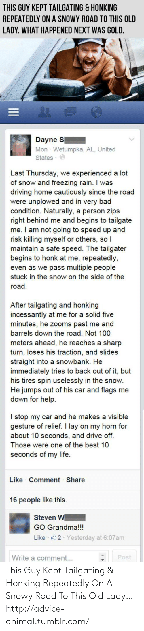 tailgating: This Guy Kept Tailgating & Honking Repeatedly On A Snowy Road To This Old Lady…http://advice-animal.tumblr.com/