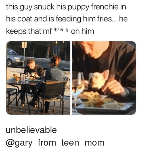 Frenchie: this guy snuck his puppy frenchie in  his coat and is feeding him fries...he  keeps that mf th N g on him unbelievable @gary_from_teen_mom