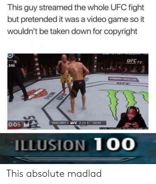 UFC: This guy streamed the whole UFC fight  but pretended it was a video game so it  wouldn't be taken down for copyright  UFCTV  346  LSK  0:05 ll  ILLUSION 10O This absolute madlad