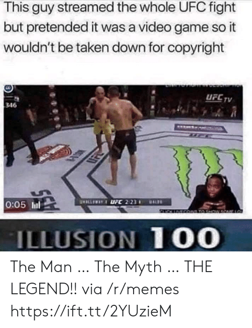 myth: This guy streamed the whole UFC fight  but pretended it was a video game so it  wouldn't be taken down for copyright  UFC TV  346  ELLEWAYUFC 2123  0:05 Inl  DALS  MCO TO HW  ILLUSION 100 The Man … The Myth … THE LEGEND!! via /r/memes https://ift.tt/2YUzieM