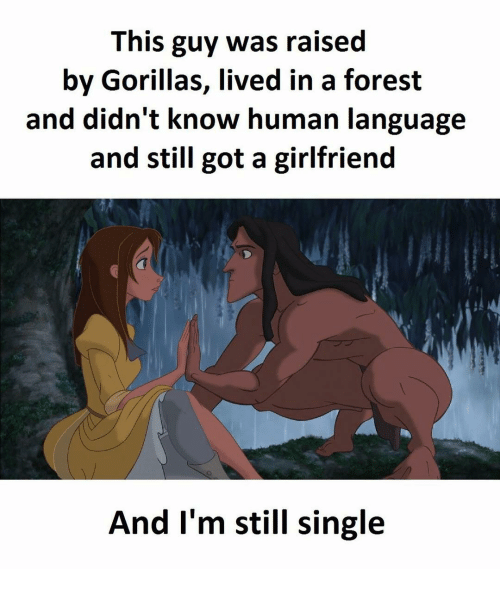 Memes and 🤖: This guy was raised  by Gorillas, lived in a forest  and didn't know human language  and still got a girlfriend  And I'm still single