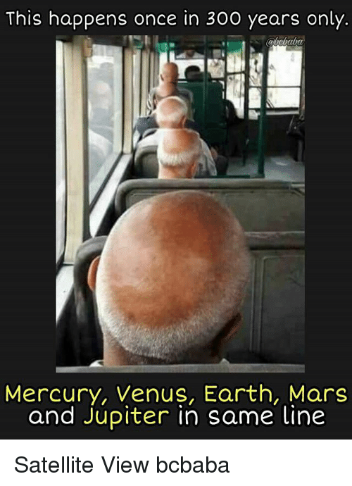Memes, Earth, and Jupiter: This happens once in 300 years only.  Mercury, Venus, Earth, Mars  and Jupiter in same line Satellite View bcbaba