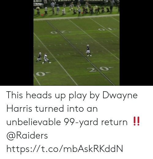 heads up: This heads up play by Dwayne Harris turned into an unbelievable 99-yard return ‼️ @Raiders https://t.co/mbAskRKddN