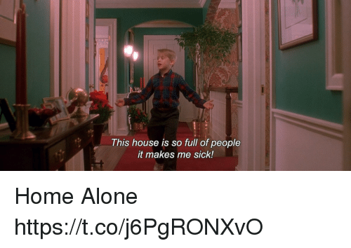 Being Alone, Home Alone, and Memes: This house is so full of people  it makes me sick! Home Alone https://t.co/j6PgRONXvO