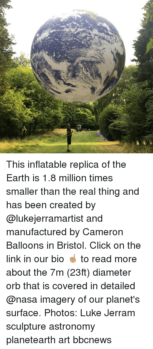Bristol: This inflatable replica of the Earth is 1.8 million times smaller than the real thing and has been created by @lukejerramartist and manufactured by Cameron Balloons in Bristol. Click on the link in our bio ☝🏽 to read more about the 7m (23ft) diameter orb that is covered in detailed @nasa imagery of our planet's surface. Photos: Luke Jerram sculpture astronomy planetearth art bbcnews