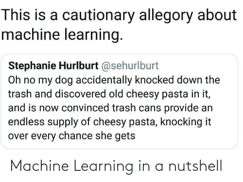 Cans: This is a cautionary allegory about  machine learning.  Stephanie Hurlburt @sehurlburt  Oh no my dog accidentally knocked down the  trash and discovered old cheesy pasta in it,  and is now convinced trash cans provide an  endless supply of cheesy pasta, knocking it  over every chance she gets Machine Learning in a nutshell