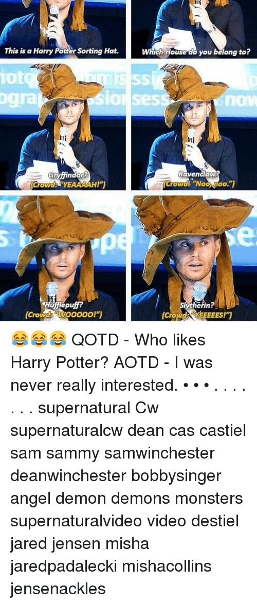 "Harry Potter, Memes, and Angel: This is a Harry Potter Sorting Hat.  Which House do you belong to?  iot  gra  SIOl Sess  now  Iti  Ravenclaw  Crowd YEAAAAH!""  Crowd ""Noo Moo.  Hufflepuff?  (Crowde aWooooo!"")  erin!  (Crowds YEEEEES!)  Crowd YEEEEES!) 😂😂😂 QOTD - Who likes Harry Potter? AOTD - I was never really interested. • • • . . . . . . . supernatural Cw supernaturalcw dean cas castiel sam sammy samwinchester deanwinchester bobbysinger angel demon demons monsters supernaturalvideo video destiel jared jensen misha jaredpadalecki mishacollins jensenackles"
