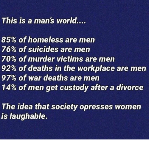 Homeless, Memes, and Women: This is a man's world....  85% of homeless are men  76% of suicides are men  70% of murder victims are men  92% of deaths in the workplace are men  97% of war deaths are men  14% of men get custody after a divorce  The idea that society opresses women  is laughable.