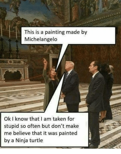 Michelangelo, Taken, and Ninja: This is a painting made by  Michelangelo  Ok I know that I am taken for  stupid so often but don't make  me believe that it was painted  by a Ninja turtle