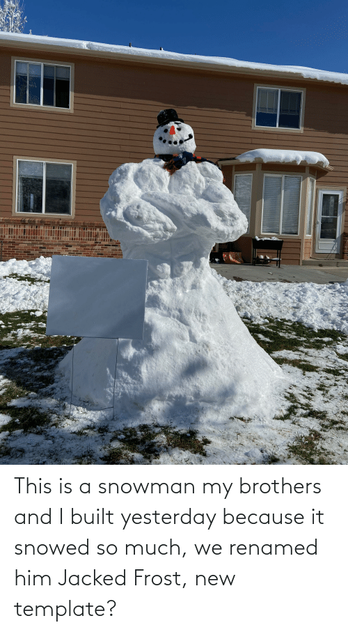 jacked: This is a snowman my brothers and I built yesterday because it snowed so much, we renamed him Jacked Frost, new template?