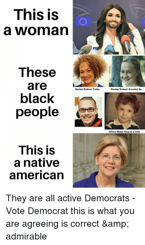 Rachel Dolezal: This is  a woman  These  are  black  people  Rachel Dolezal Today  Rachel Dolezal Growing Up  Jeffery Shaun King as a child  This is  a native  american