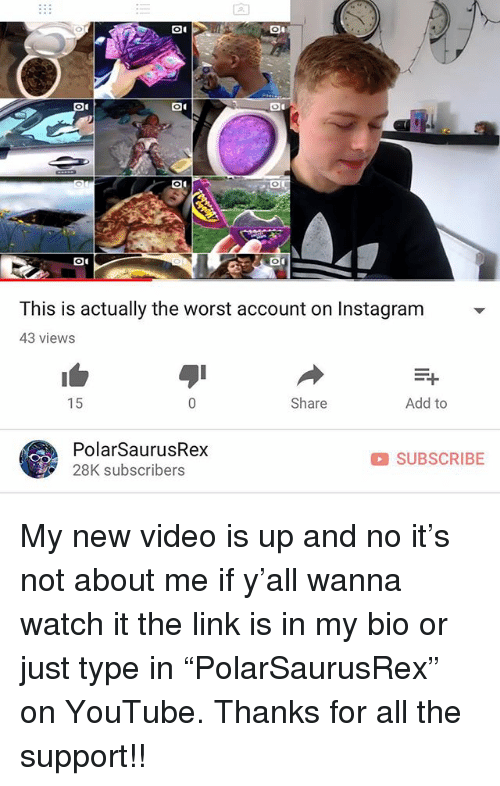"Instagram, Memes, and The Worst: This is actually the worst account on Instagram  43 views  15  Share  Add to  PolarSaurusRex  28K subscribers  SUBSCRIBE My new video is up and no it's not about me if y'all wanna watch it the link is in my bio or just type in ""PolarSaurusRex"" on YouTube. Thanks for all the support!!"