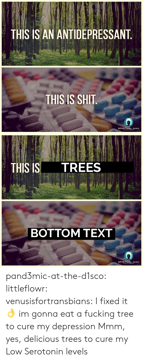 Antidepressant: THIS IS AN ANTIDEPRESSANT.  THIS IS SHIT  SPIRITUAL MAN  ECOEA BUP MN   TREES  THIS IS  ВOTTOM ТEXT  SPIRITUAL MAN  ECOEA RU MN pand3mic-at-the-d1sco: littleflowr:  venusisfortransbians: I fixed it 👌  im gonna eat a fucking tree to cure my depression   Mmm, yes, delicious trees to cure my Low Serotonin levels