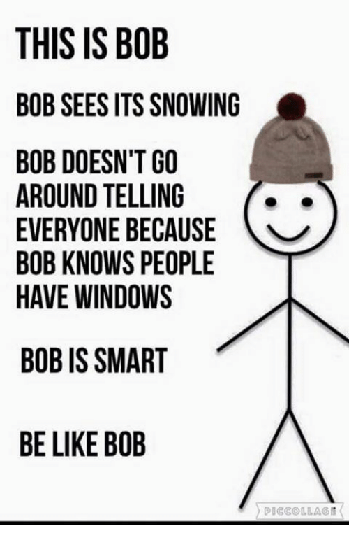 this is bob: THIS IS BOB  BOB SEES ITS SNOWING  BOB DOESN'T GO  AROUND TELLING  EVERYONE BECAUSE  BOB KNOWS PEOPLE  HAVE WINDOWS  BOB IS SMART  BE LIKE BOB