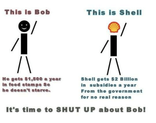 this is bob: This is Bob  This is Shell  He gets $1,500 a year  Shell gets $2 Billion  in food stamps So  in subsidies a year  he doesn't starve.  From the government  for no real reason  It's time to SHUT UP about Bob!