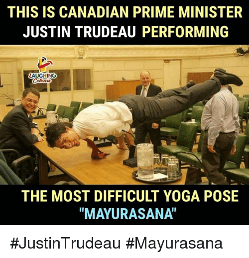 """Yoga, Canadian, and Justin Trudeau: THIS IS CANADIAN PRIME MINISTER  JUSTIN TRUDEAU PERFORMING  AUGHINCO  THE MOST DIFFICULT YOGA POSE  """"MAYURASANA"""" #JustinTrudeau #Mayurasana"""