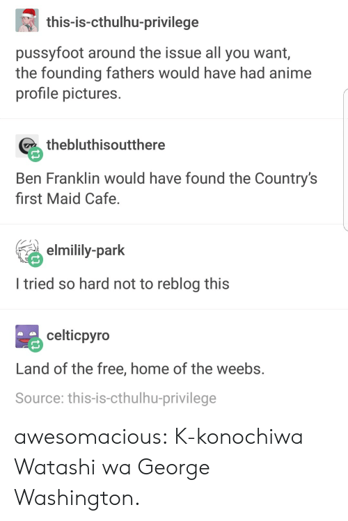 I Tried So Hard: this-is-cthulhu-privilege  pussyfoot around the issue all you want,  the founding fathers would have had anime  profile pictures  thebluthisoutthere  Ben Franklin would have found the Country's  first Maid Cafe  ey-park  I tried so hard not to reblog this  celticpyro  Land of the free, home of the weebs  Source: this-is-cthulhu-privilege awesomacious:  K-konochiwa Watashi wa George Washington.