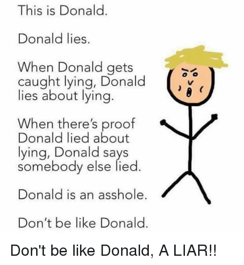 Be Like, Don't Be Like, and Lying: This is Donald.  IS IS  Donald lies.  When Donald gets  caught lying, Donald  lies about lying.  When there's proof  Donald lied about  lying, Donald says  somebody else lied.  Donald is an asshole  Don't be like Donald. Don't be like Donald, A LIAR!!