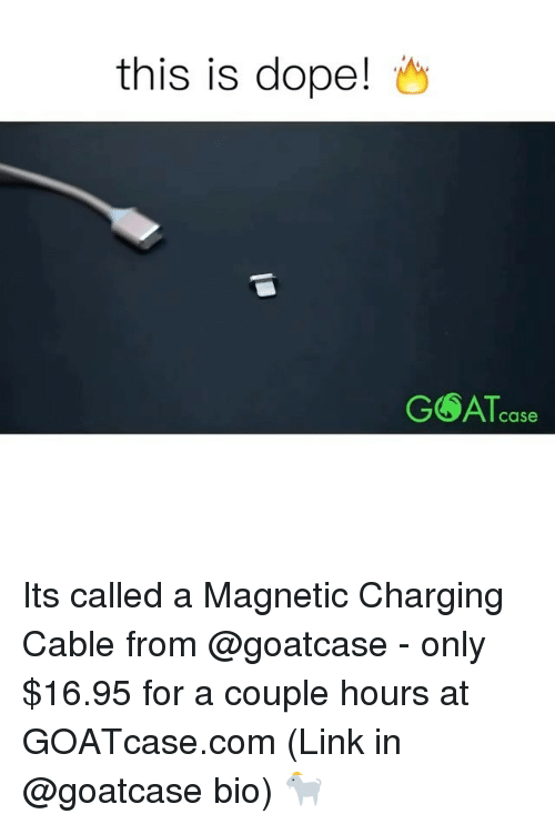Dope, Memes, and 🤖: this is dope!  Case Its called a Magnetic Charging Cable from @goatcase - only $16.95 for a couple hours at GOATcase.com (Link in @goatcase bio) 🐐
